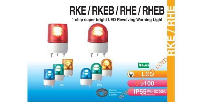 Đèn Quay Cảnh báo Patlite Φ100, Bóng LED Chip Siêu Sáng, IP55, RKE