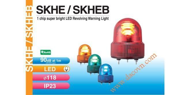 Đèn quay cảnh báo Patlite Φ118, bóng LED siêu sáng, IP23, phản xạ phân tán, SKHE