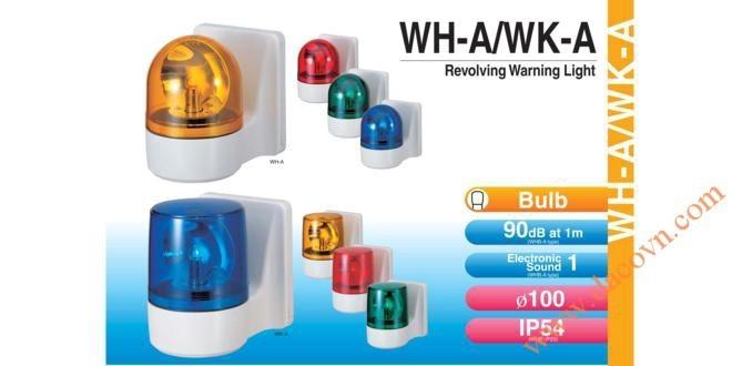 Đèn Quay Cảnh báo Patlite Φ100, Treo Tường, Bóng Sợi Đốt, Chống Rung, IP54, WH-A / WKA