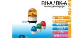 Đèn Quay Cảnh báo Patlite Φ100, Có Còi 90dB, Bóng Sợi Đốt, Chống Rung, IP55, RHB/RKB