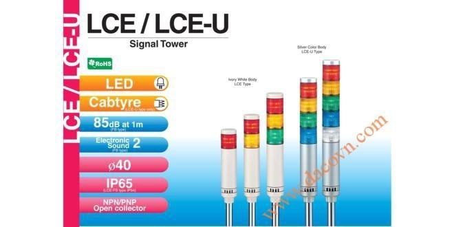 Đèn Tháp Tầng Cảnh báo Patlite, Bóng LED Φ40, Còi 85dB, Nhấp Nháy, LCE