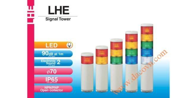 Đèn Tháp Tầng Cảnh báo Patlite LED Φ70, Còi 90dB, Nhấp Nháy, IP65, LHE