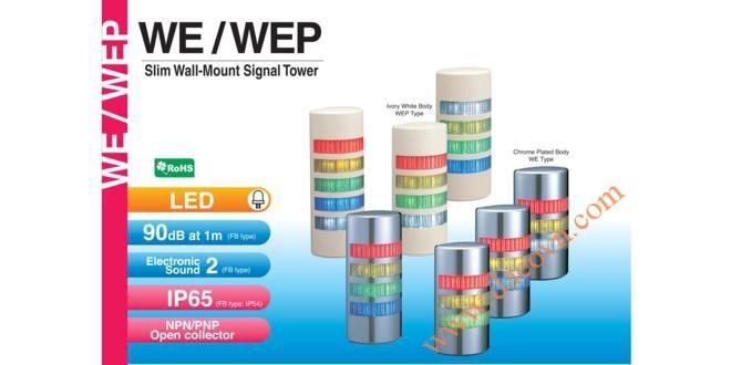 Đèn tháp cảnh báo Patlite hình bán nguyệt LED Φ90 còi 90dB nhấp nháy WE/WEP
