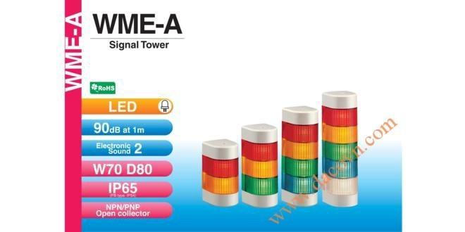 Đèn Tháp Cảnh báo Bán Nguyệt Trụ Patlite LED Φ70, 2 Âm Báo 90dB Nhấp Nháy IP65, WME-A