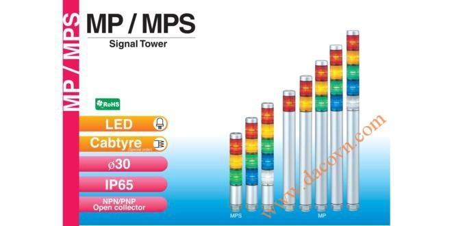 Đèn Tháp Tầng Cảnh báo Patlite, Đèn Báo Φ30, Bóng LED, IP65, MP / MPS