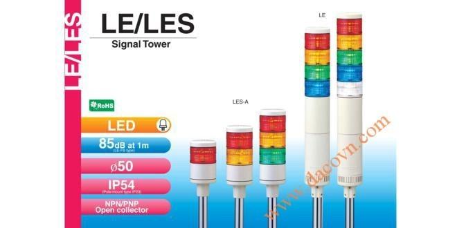 Đèn Tháp Cảnh báo Patlite, LED Φ50, Còi 85dB, Nhấp Nháy IP54, LE / LES