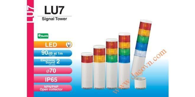 Đèn Cảnh báo Tháp Tầng Patlite Module LU7 Φ70, Còi 85dB, Nhấp Nháy, IP65, LU7/LU7-FB/LU7-E