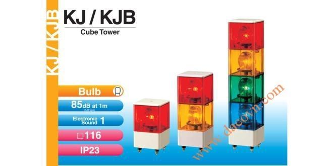 Đèn tháp cảnh báo Patlite vuông 116mm, bóng sợi đốt còi 85dB nhấp nháy KJ/KJB