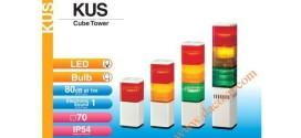 Đèn tháp cảnh báo Patlite vuông 70mm LED còi 80dB nhấp nháy, KUS/KUS-F