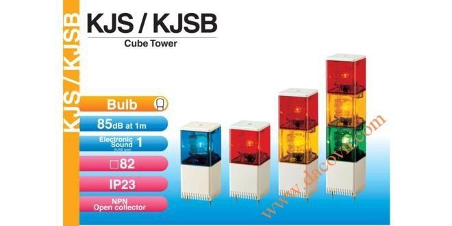 Đèn tháp cảnh báo Patlite vuông 82mm, bóng sợi đốt, còi 85dB nhấp nháy, KJS/KJSB